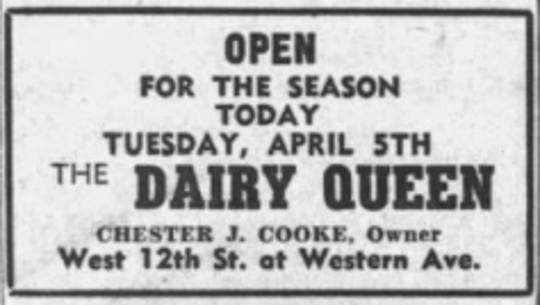 An advertisement from 1949 announcing the opening of Dairy Queen