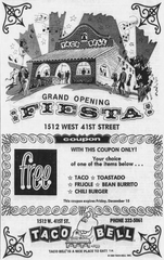 An advertisement from the 1972 grand opening of Taco Bell in Sioux Falls.