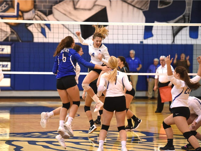 Fort Defiance celebrates the final point in its Region 3C semifinal win Thursday.
