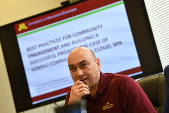 University of Minnesota Extension Educator for Health and Nutrition Programs Serdar Mamedov talks about a project to develop a supply of fresh goat meat to community members during an interview Friday, Nov. 8, 2019, in St. Cloud.