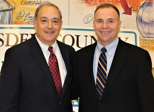 Gadsden County Chamber of Commerce Executive Director David A. Gardner, left, poses for a photo with Lt. Gen. Ben Hodges, who was born in Quincy, the county seat.
