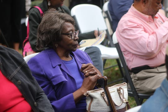Evelyn Nims, 85, Frenchtown resident since 1947, sits in the audience at the Frenchtown Historical Marker Trail unveiling Friday, Nov. 8.