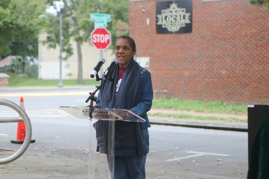 Riley Museum Executive Director Althemese Barnes addresses the crowd at the Frenchtown Historical Marker Trail unveiling Friday, Nov. 8.