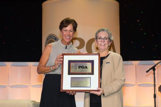 PGA of America president Suzy Whaley and Patriot Award winner Judy Alvarez during the PGA of America National awards ceremony.