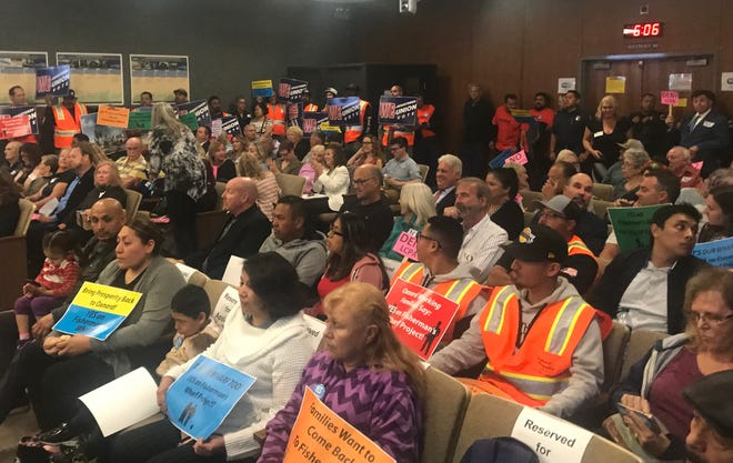 The Oxnard City Council Chambers was standing room only on Thursday when local officials considered the approval of a housing development on Fisherman's Wharf.