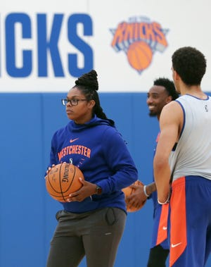 Westchester Knicks assistant coach Lisa Willis works with the team during training camp at the Knicks training facility in Greenburgh Nov. 6, 2019. Willis is a former New York Liberty player.