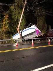 A boat smashed into a utility pole on Saw Mill River Road in Ardsley on Nov. 7, 2019.