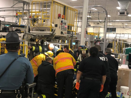 Aworker was seriously injured Thursday evening after being pinned by a machine's conveyor belt at an industrial buildingin Glasgow.