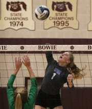 Windthorst's Kora Pennartz spikes the ball in the Region II-2A area playoff against Tioga Thursday, Nov. 7, 2019, in Bowie. The Trojanettes defeated the Lady Bulldogs 3-2 (25-21, 25-16, 19-25, 9-25, 15-12).