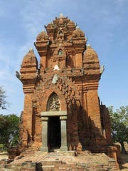 A temple in Vietnam near Phan Rang Air Base where Rick Learst took a picture and 50 years later, is grandson Kaleb Wallace took a similar picture.