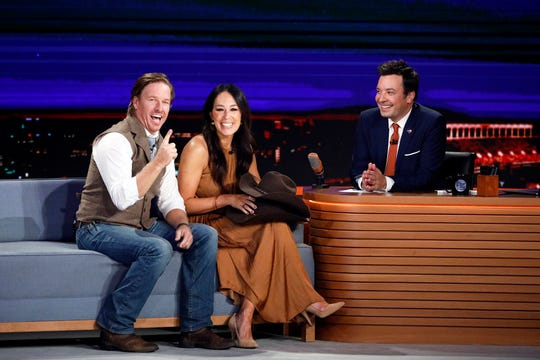 """Chip and Joanna Gaines with """"Tonight Show"""" host Jimmy Fallon on Thursday."""