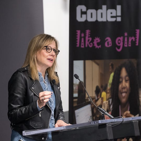 General Motors Chairman and CEO Mary Barra addressed the GM-Black Girls Code partnership on Sept. 12, 2017 in Detroit.