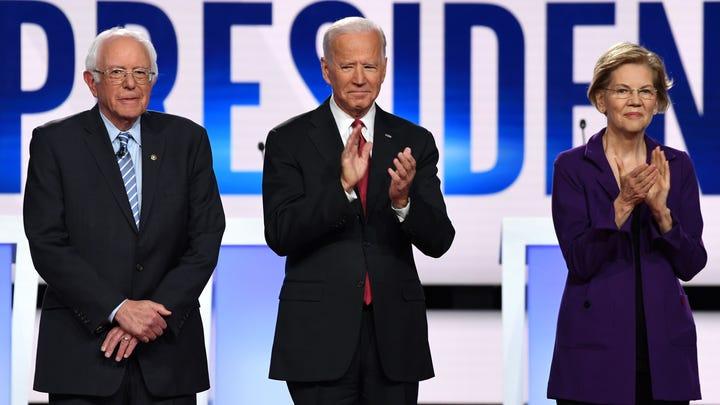 Bernie Sanders, Joe Biden and Elizabeth Warren at a Democratic debate on Oct. 15, 2019, in Westerville, Ohio.