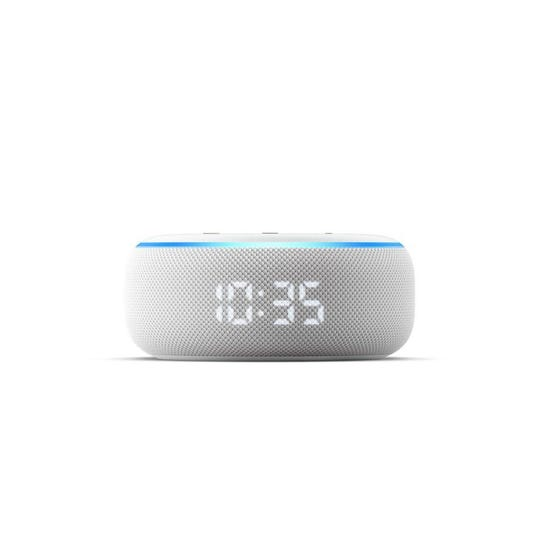 Make free audio calls between Amazon smart speakers, such as the Echo Dot shown here, or even call any 10-digit North American landline or mobile phone, for free (over Wi-Fi).