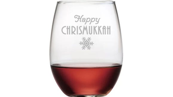 These wine glasses are a sweet option for anyone who celebrates Hanukkah and Christmas.