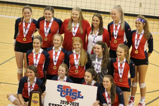 Powdersville's volleyball team becomes first in school history to win back-to-back state championships.