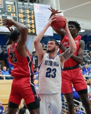 Seton Hall Pirates forward Sandro Mamukelashvili (23) shoots the ball against Stony Brook Seawolves