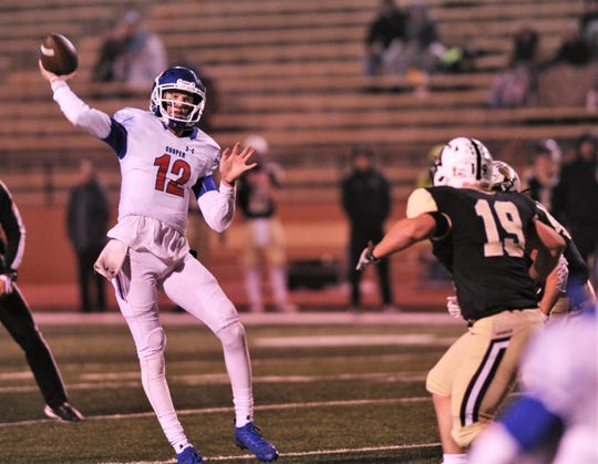 Cooper quarterback Aidan Thompson throws a 9-yard TD pass to Dylon Davis with 3:10 left in the game. The score allowed Cooper to get within seven, 42-35, but Amarillo High won the game 49-35 on Friday, Nov. 8, 2019, at Dick Bivins Stadium in Amarillo. The win gave the Sandies the District 2-5A Division I title.