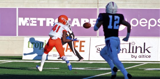 Sam Houston receiver Ife Adeyi (41) gets behind the Abilene Christian secondary, catching a 36-yard touchdown pass in the second quarter of Saturday's game at Wildcat Stadium. Adeyi scored twice in less than two minutes as the Bearkats erased a 10-0 deficit to take a 14-10 halftime lead.