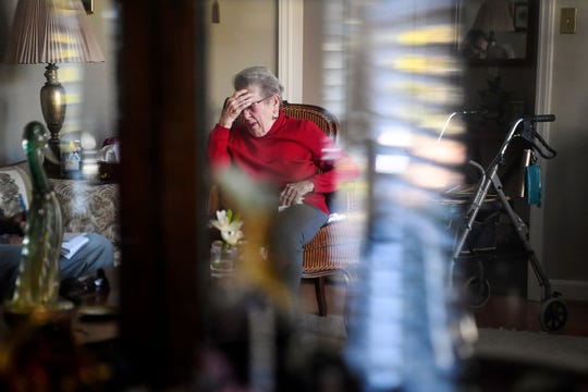 Margaret Swicegood Fort touches her head as she talks of a concussion she suffered after a fall earlier in the year November 6, 2019. Fort will turn 100 years old November 12.