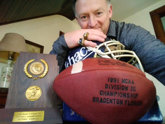 Joe Palladino, with goodies from his Ithaca College playing days.