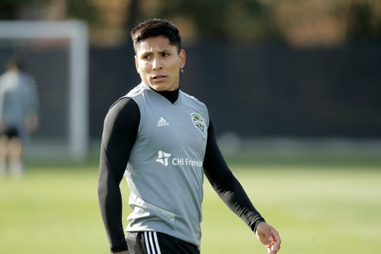 Seattle Sounders forward Raul Ruidiaz walks on the pitch during a training session Friday, Nov. 8, 2019, in Tukwila, Wash. The Sounders will face Toronto FC on Sunday in the MLS Cup soccer match at CenturyLink Field in Seattle.