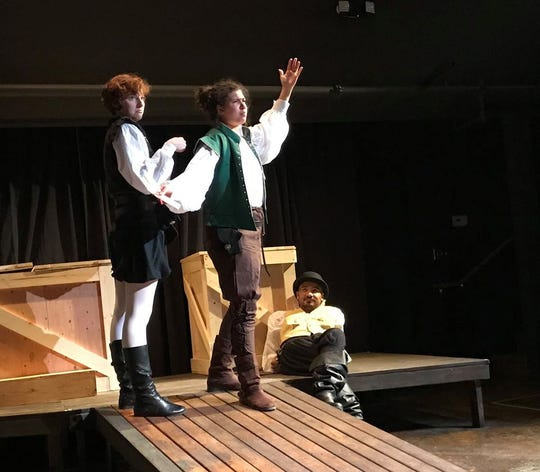 "Chelsey Sheppard (from left), Simone Alene and Jesse Smith in inD Theatre's ""Rosencrantz and Guildenstern Are Dead."""