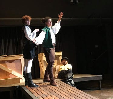 """Chelsey Sheppard (from left), Simone Alene and Jesse Smith in inD Theatre's """"Rosencrantz and Guildenstern Are Dead."""""""