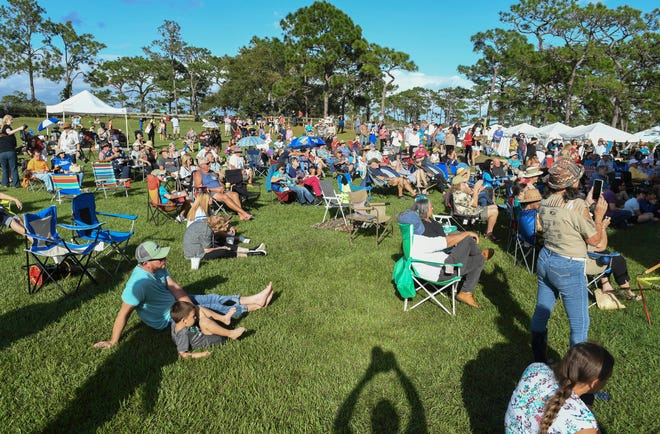 A crowd gathers to watch the performers during the Native Rhythms Festival Saturday at the Wickham Park amphitheater. The 11th annual festival continues Sunday 9-6.