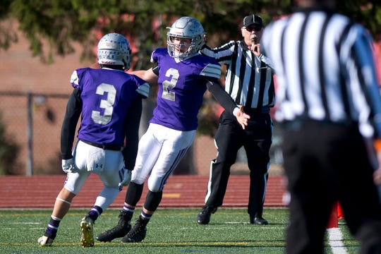 Brattleboro's Tyler Millerick (2) reacts after scoring a touchdown during the Division II high school football state championship game in Rutland on Saturday, Nov. 9, 2019.