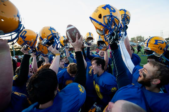 Poultney celebrates beating BFA-Fairfax/Lamoille 17-8 in Saturday's D-III title game.