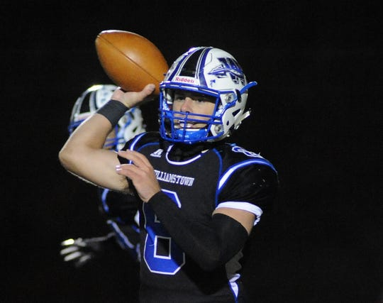 Williamstown quarterback Dougie Brown throws a pass during Friday night's South Jersey Group 5 first round playoff football game against Hunterdon Central at Williamstown High School, Nov. 8, 2019.