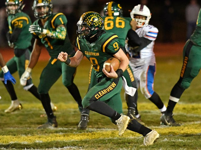 Clearview quarterback Mike Ancona runs for a gain during a game against Millville on Friday, Nov. 8, 2019.