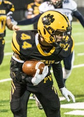 Paint Valley wide receiver Cruz McFadden carries the ball during a Division VI regional quarterfinal game on Friday, Nov. 8, 2019 in Bainbridge, Ohio. McFadden earned first team all-district offense honors.