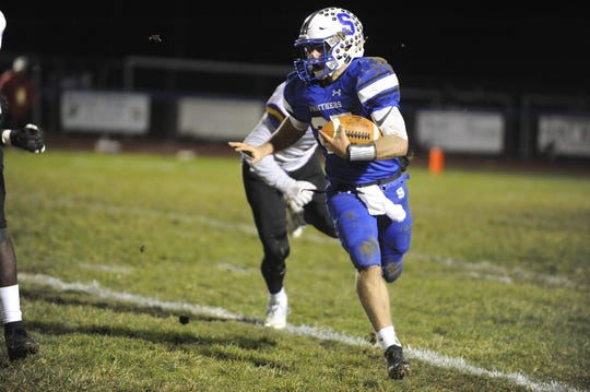 Southeastern quarterback Lane Ruby runs the ball during a 40-3 win over Dayton Christian in the D-VI Regional Quarterfinals on Friday, Nov. 8, 2019 at Southeastern High School in Chillicothe, Ohio.