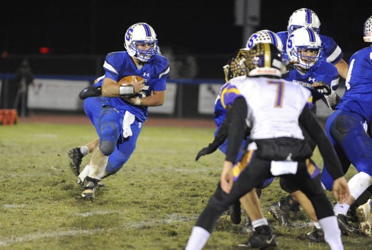 Southeastern's Mikey Nusser carries the ball during a 40-3 win over Dayton Christian in the D-VI Regional Quarterfinals on Friday, Nov. 8, 2019 at Southeastern High School in Chillicothe, Ohio.