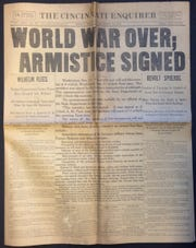 The Cincinnati Enquirer front page, November 11, 1918, declaring the end of World War I and the signing of armistice.