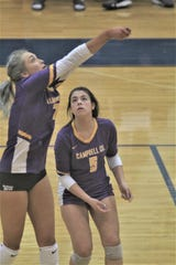 Campbell County junior Olivia Crowl passes the ball with Ella Schloemer in support as Campbell County fell 3-2 to Owensboro Catholic in the round of 16 at the KHSAA state volleyball tournament November 8, 2019 at Valley High School, Louisville, KY.