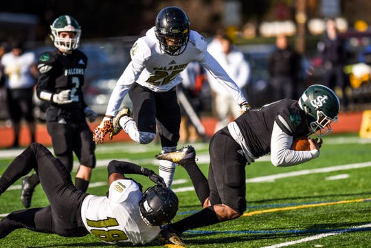 St. Joe's football game against Paramus Catholic in Metuchen on Saturday November 9, 2019. Saint Joe's #8 Tyree Ford with the ball.