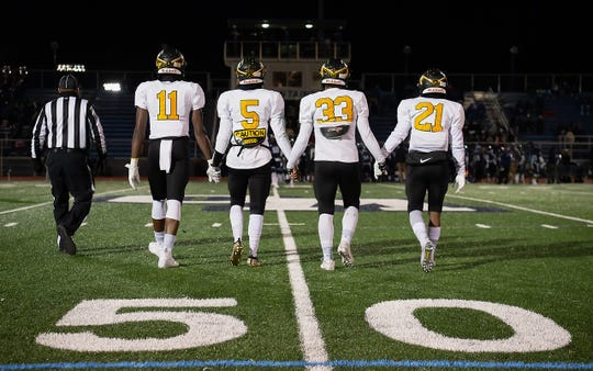 Piscataway takes the field against West Orange on Nov. 8, 2019 (from left to right, Marcel Walker, Kristopher Hernandez, Marcus Petite, Khristian Hernandez)