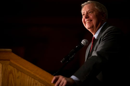 U.S. Senator Lindsey Graham speaks during the Iowa GOP's Lincoln-Reagan Dinner at the Downtown Marriott on Friday, Nov. 8, 2019 in Des Moines.