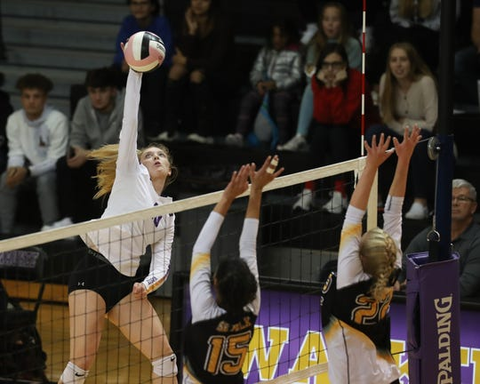Waukee's Ella Pedersen (10) spikes the ball against Southeast Polk in a regional final Nov. 4 in Waukee. The Warriors won 3-0 to advance to the state tournament.