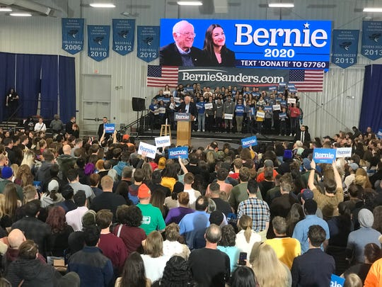 U.S. Sen. Bernie Sanders addresses a crowd in Council Bluffs, Ia., on Friday, Nov. 8, 2019, after being introduced by U.S. Rep. Alexandria Ocasio-Cortez
