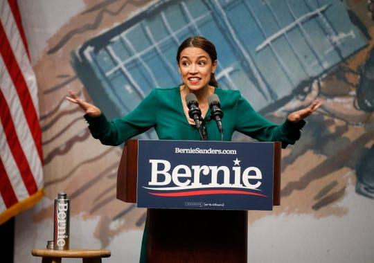 United States Representative Alexandria Ocasio-Cortez (D-NY) speaks on Saturday, Nov. 9, 2019, at Drake University in Des Moines.