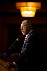 Republican Senator Chuck Grassley speaks at the Iowa GOP's Lincoln-Reagan Dinner at the Downtown Marriott on Friday, Nov. 8, 2019 in Des Moines. The special guest of the night was U.S. Senator Lindsey Graham.