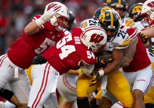 Nov 9, 2019; Madison, WI, USA; Iowa Hawkeyes running back Toren Young (28) is tackled by Wisconsin Badgers linebacker Chris Orr (54) during the second quarter at Camp Randall Stadium.
