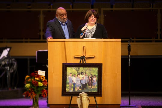 Michael and Regina Johnson speak at a memorial service for their adopted son Marshal Johnson on Nov. 9, 2019 at New Hope Assembly of God in Urbandale.
