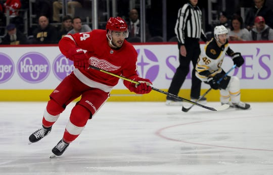 Detroit Red Wings center Robby Fabbri (14) skates against the Boston Bruins during first period action Friday, November 8, 2019 at Little Caesars Arena in Detroit, Mich.