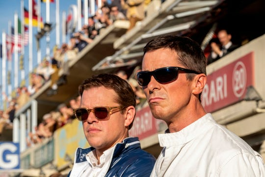 "Matt Damon, left, and Christian Bale in ""Ford v Ferrari."""