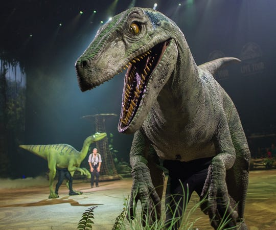 More than two dozen dinosaurs — some animatronic, some performer-operated — deliver chills and thrills on the Jurassic World Live! Tour, which stops at the Landers Center this weekend.